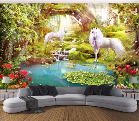 custom murals custom mural photo 3d wallpaper forest white horse unicorn