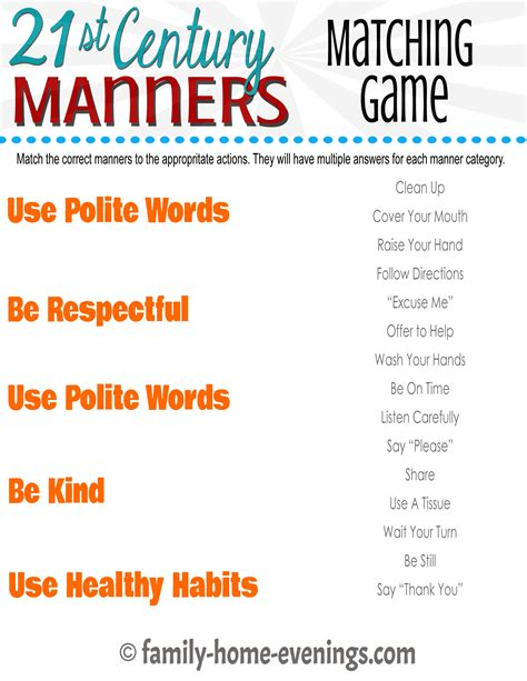 free teaching children manners worksheets