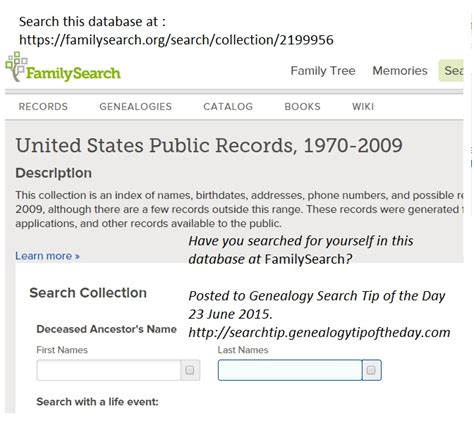 United States Records Search Search For Yourself In Us Records 1970 2009 171 Genealogy Search Tip