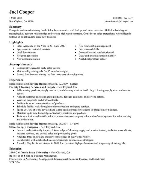 inside sales resumes best inside sales resume exle livecareer