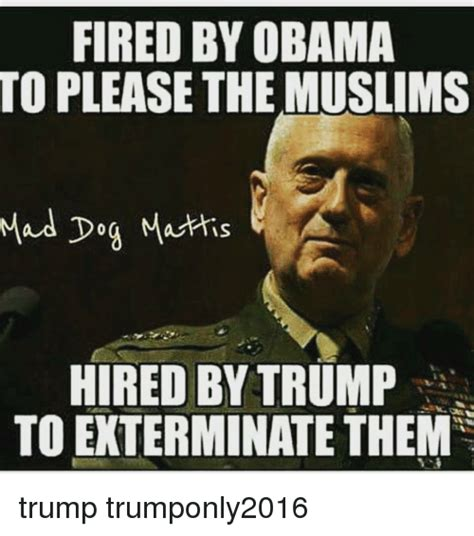 Obama Dog Meme - fired by obama to please the muslims mad dog mattis hired