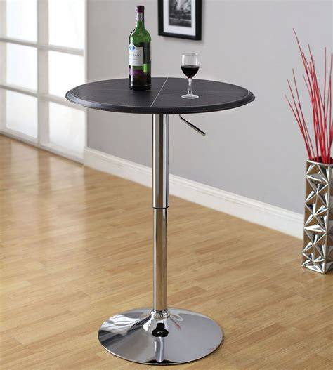 Small Bar Table Black Leatherette Top Chrome Base Adjustable Height Small Bar Pub Table Ebay