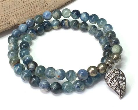 Pav Watermelon Charm P 916 wrap bracelet beaded boho wrap bracelet blue kyanite gemstone stretch bracelet pave