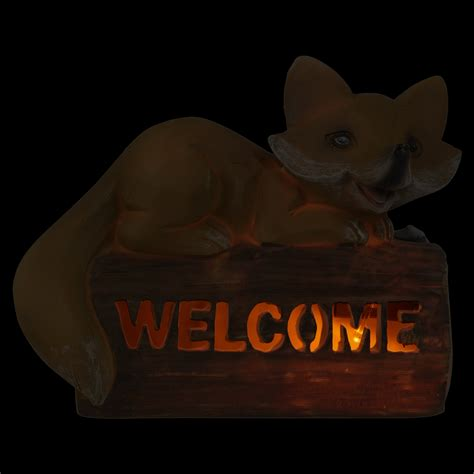 solar powered welcome sign garden fox led light up l
