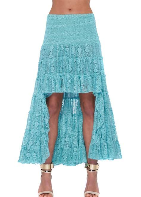 antica sartoria turquoise lace maxi skirt
