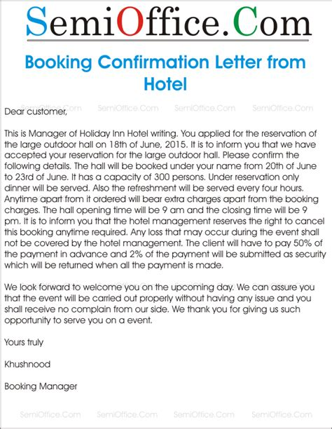 Reservation Confirmation Letter Hotel Sle Letter For Booking Confirmation