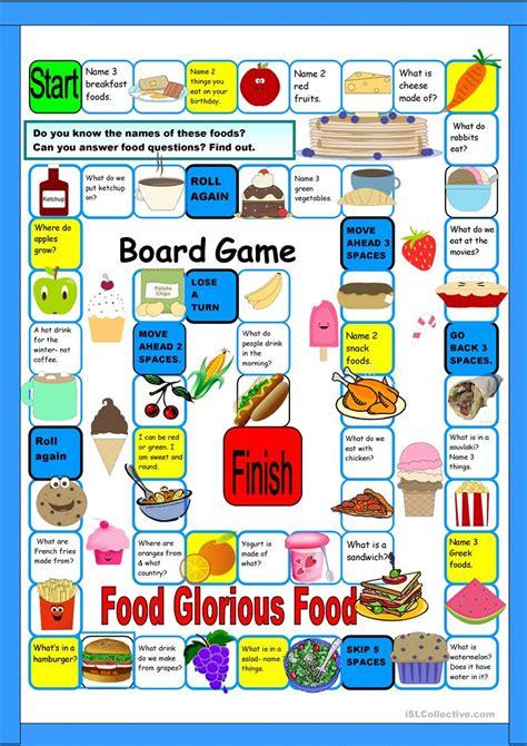 printable board games for 4 year olds food boardgame worksheet free esl printable worksheets