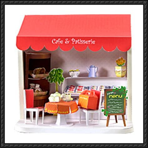 Papercraft Cafe - new paper craft cafe patisserie diorama free paper