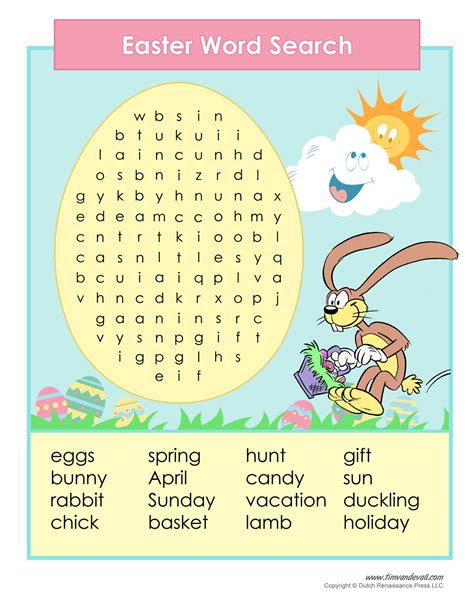 printable word search easter printable easter word search