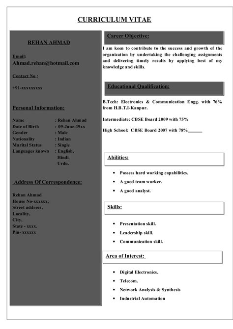 world best resume sles for freshers sle cv for electronics communications student