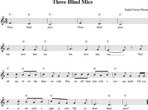 Three Blind Mice Recorder three blind mice recorder sheet