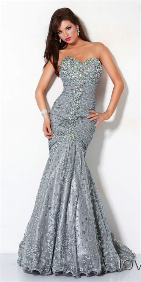 Your Budget With These Con Galaxy Style Dresses by Jovani Strapless Mermaid Gown 2013 Silver Sequin