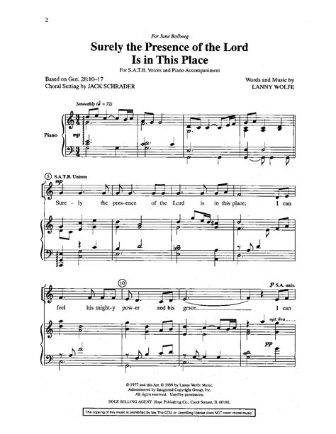 In A Place Jw Pepper Surely The Presence Of The Lord Is In This Place J W Pepper Sheet