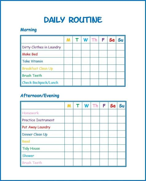 printable daily reward charts this daily routine printable for kids will help kids stay