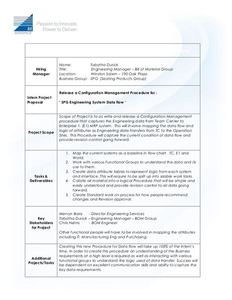 Intern Project Description Template Bom Group Internship Project Plan Template