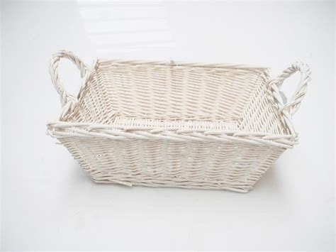 Rectangle White French Shabby Chic Wicker Kitchen Crafts Wicker Basket Bathroom Storage