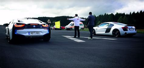 Bmw I8 Audi R8 by Bmw I8 Drag Races Audi R8 And It Does Not End Well For The