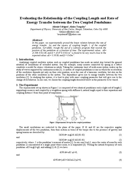 Pendulum Lab Report by Coupled Pendulum Lab Report Resonance Normal Mode