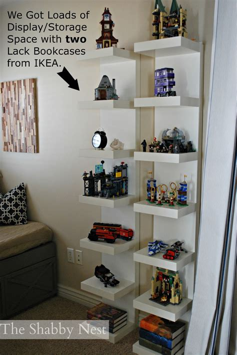 ikea lack shelf for lego display storage kids room idea display lego collection we used lack bookcases to