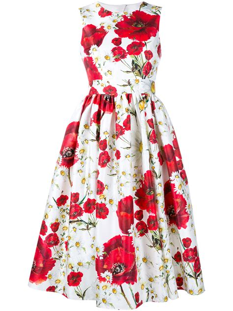 Floral Print Sleeveless Dress lyst dolce gabbana sleeveless floral print cotton silk