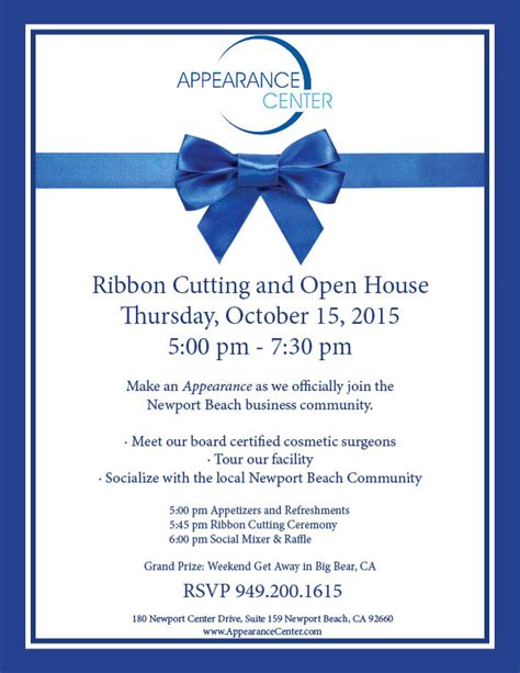 Appearance Center Ribbon Cutting Newport Beach Chamber Of Commerce Ribbon Cutting Ceremony Invitation Template