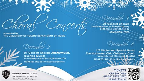 utoledo it help desk graphic with information about ut choral concerts december