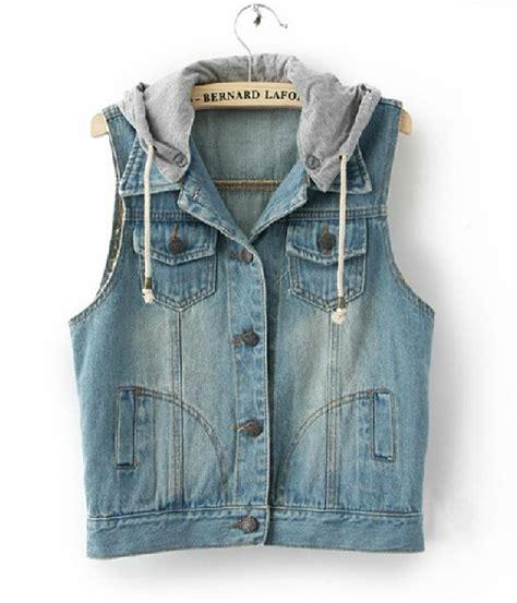 Hooded Denim Vest sleeveless denim vest hooded jacket 091603ad01 on luulla