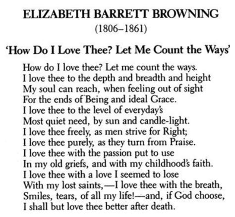 How Do I Thee Let Me Count The Ways by How Do I Thee Let Me Count The Ways By Elizabeth
