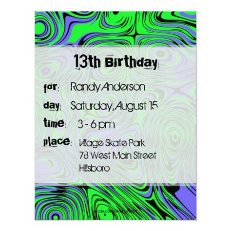 teen boys birthday party invitations green card zazzle com