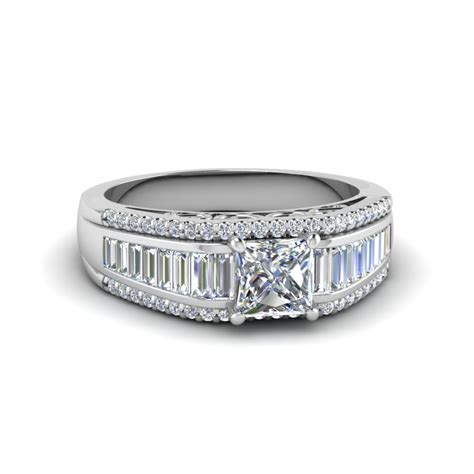 princess cut trio baguette wide band engagement