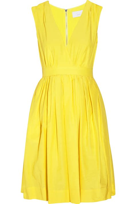 a yellow cotton dress adam lippes silk and cotton blend dress in yellow lyst