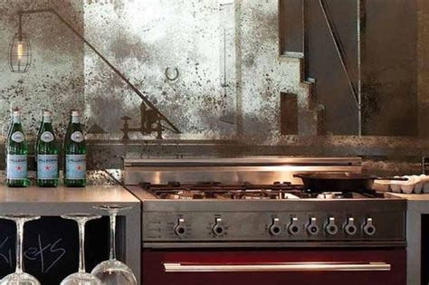 patina mirror splashback interiors kitchen pinterest