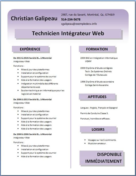 Exemple De Lettre Qui Accompagne Un Cv modele cv gratuit a telecharger word cv anonyme