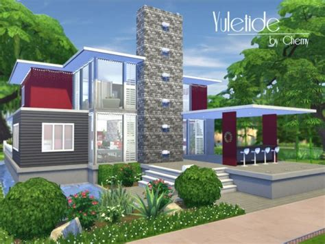 sims resource yuletide modern house  chemy sims