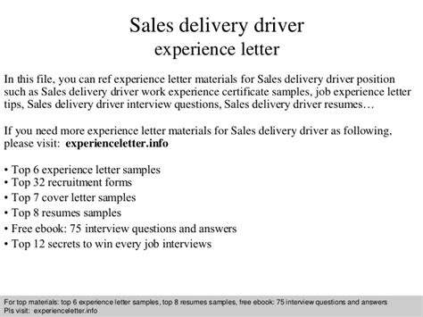 Experience Letter Driver sales delivery driver experience letter
