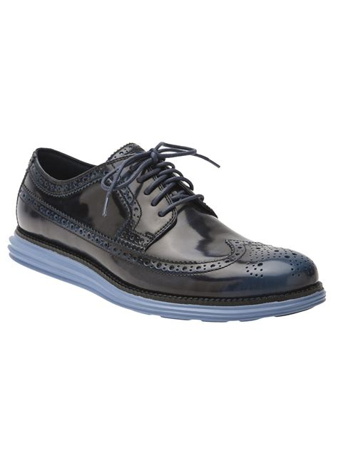 cole haan lunargrand wingtip shoes in black for lyst