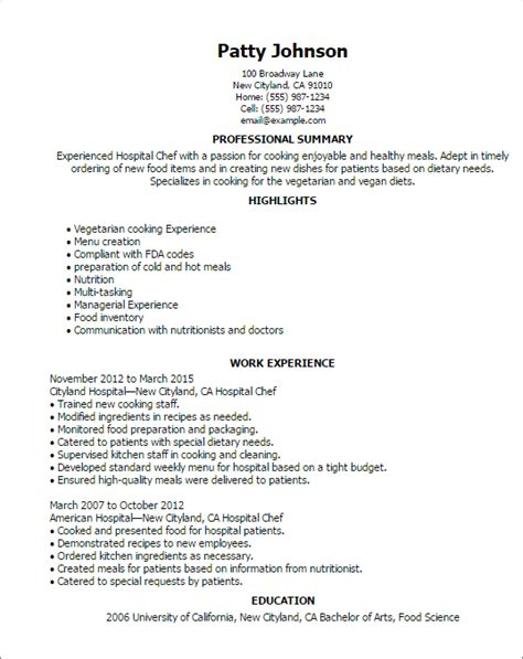 Resume Exles Cook Restaurant Professional Hospital Chef Templates To Showcase Your Talent Myperfectresume
