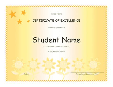 excellence award certificate template student excellence award elementary free certificate