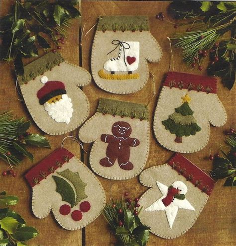 primitive folk art wool applique christmas pattern warm hands