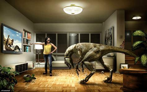 dinosaurs room tv virtual reality headsets humor
