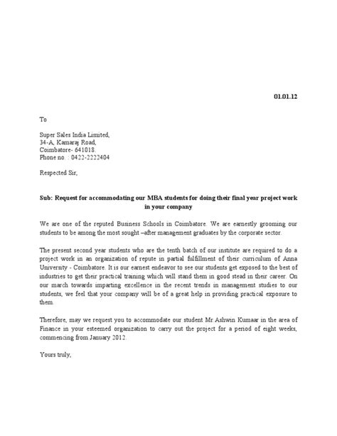 Request Letter Format For Doing Project In A Company Project Request Letter