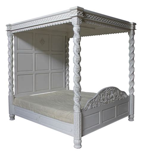 Four Poster Canopy Bed Four Poster Canopy Floral Bed In Antique White