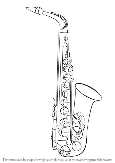 learn how to draw a saxophone musical instruments step