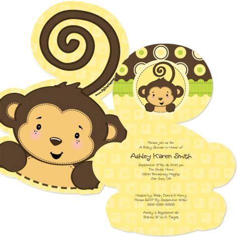 monkey neutral shaped baby shower invitations