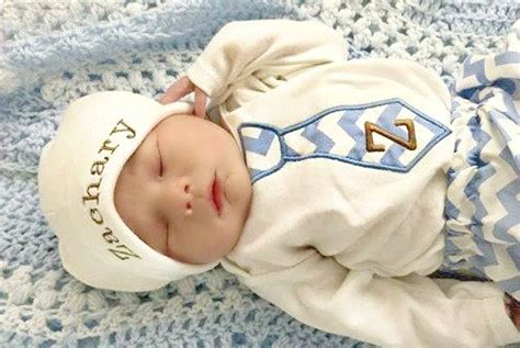 newborn baby boy clothes monogram boy tie personalized hat