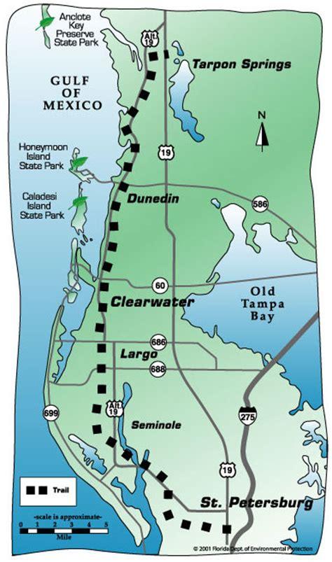 florida trail map pinellas trail st petersburg to tarpon springs small