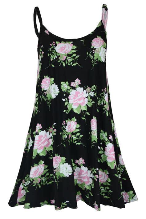 swing top dress women s printed swing cami strappy dress ladies mini vest