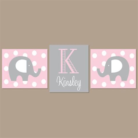 Light Pink Gray Nursery Elephant Nursery Wall Art Elephant Pink And Gray Nursery Decor