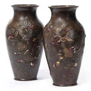 Japanese Bronze Vase A Pair Of Japanese Bronze Vases 19th Century Christie S