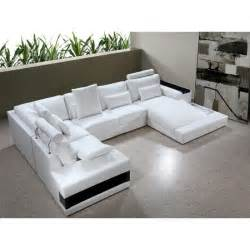 U Sectional Sofas Modern White Leather Quot U Quot Shaped Sectional Sofa W Lights